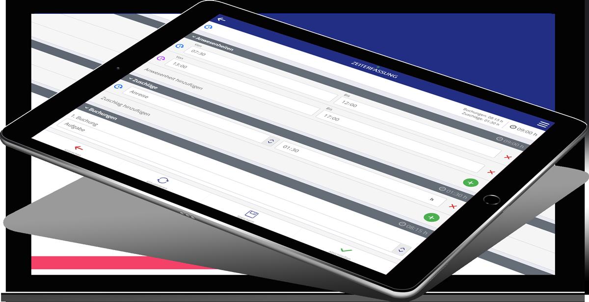 iPad mit Lovion TIME SHEET APP