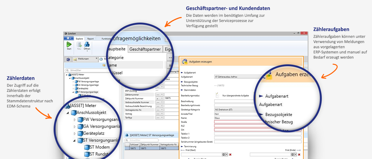 Screenshot mit Features